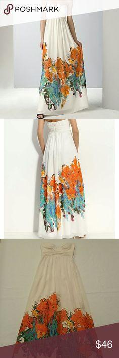 Aidan Mattox Border Print Chiffon Strapless Dress - Fully lined -100% Polyester - Ivory with vibrant florals Aidan Mattox Dresses Strapless