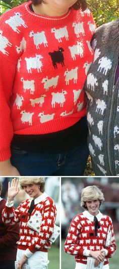 Free Knitting Pattern for Princess Diana's Black Sheep Sweater - Long-sleeved pullover with sheep motifs, inspired by ajumper Princess Diana woreto a polo match in 1983. This version, designed by Sally Muir and Joanna Osborne, appeared in Woman magazine and McCall's magazine in 1984. Sizes 6-8-10-12-14.Pictured projectby MissJaneKnits who made some modifications. Diy Crochet Sweater, Crochet Clothes, Knit Crochet, Free Knitting Patterns For Women, Knitting Ideas, Knitted Bags, Knitted Blankets, Jumper Knitting Pattern, Polo Match