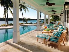 Key West Living Sleek White Walls, Stunning Wood Flooring And Accent Colors To Reflect The Water Give This Islamorada Home The Feel Of An Old Florida Beach House Beach Cottage Style, Beach House Decor, Cottage Art, Home Decor, Style Key West, Dream Beach Houses, Beach Houses In Florida, Florida Design, My Pool