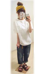ぷ ぷ こ   ༘*さんのヘアバンド「カオリノモリ 【カオリノモリ】シェークリボン.ターバン」を使ったコーディネート