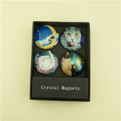 Cat Design Kids Fridge Magents/ 5cm Large Custom Magnets This is a set of 4 pcs clear dome glass fridge magnets in an beatiful look. Each magnet is made with a small, super-strong magnet. The back is finished with a water resistant sealer for durability.  They are good option for home decoration gifts, wedding gifts, souvenir gifts and promotional gifts. Our full color printed dome glass magnets have a wide range of colors, designs and themes. Personalized wedding info, famous place photo…