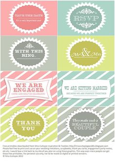 Free printable wedding graphics! RSVP, Thank you, save the date, engagement invites etc use as labels..
