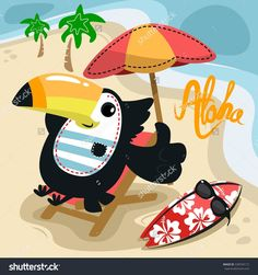 Cute toucan bird cartoon at beach on tropical island seashore vector.