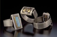 Ring    Jude Clarke. FLIP RINGS. Overlaid and fabricated two-sided rings with sterling silver, fine silver, 18K gold, 22K gold, and various stones (