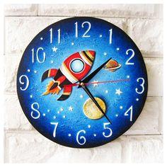 Red Rocket Wall Clock Cosmos Modern wall clock with numbers Wall Clock Painting, Clock Art, Diy Clock, Clock Decor, Color Wheel Projects, Wall Clock Numbers, Clock For Kids, Pendulum Wall Clock, Kitchen Wall Clocks
