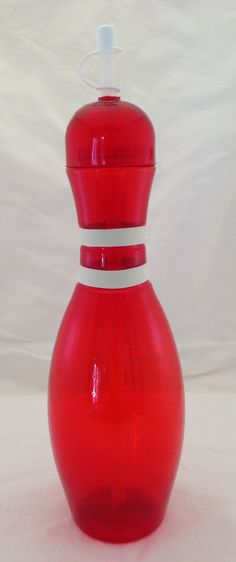 Red bowling pin water bottles now available! Great for bowling themed birthday parties!