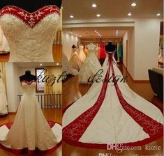 2018 New Red And White Embroidery Plus Size Wedding Dresses Custom Made Vestidos De Novia Sweeetheart Vingate Bridal Gowns Mermaid Wedding Dress Long Sleeve Wedding Dresses Lace Wedding Dress Online with $179.43/Piece on Kazte's Store | DHgate.com