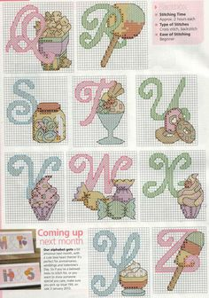 Candy & Ice Cream Alphabet Cross Stitch Patterns