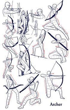 Dessin - Postures tir à l'arc