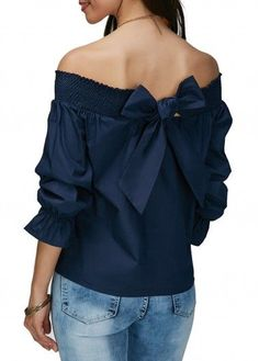 Off the Shoulder Navy Blue Bowknot Embellished Blouse