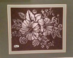 One Sheet Framed Paper-Cut of Hibiscus & Bleeding by AmberKeepArt