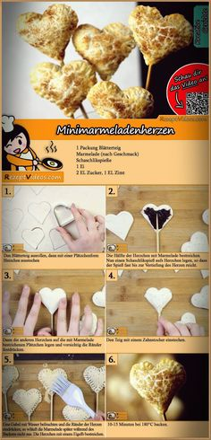 Mini jam hearts recipe with video. Detailed steps on how to prepare this easy and simple Mini jam hearts recipe! Hungarian Desserts, Hungarian Recipes, Monkey Food, Easter Cake Pops, Valentines Day Food, All You Need Is, Winter Food, Paleo, Diy Food