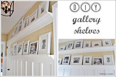 Gallery shelves let you change out photographs or artwork without having all those nail holes in the wall. They are perfect for filling a large blank space, such as over a couch. Theses ledges would also look gorgeous in a dining room or kitchen displaying a row of plates. Each shelf came out to be $28.00 a piece.