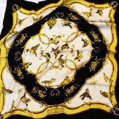 Authentic Hermes Silk Jacquard Scarf La Cle Des Champs RARE Black and White