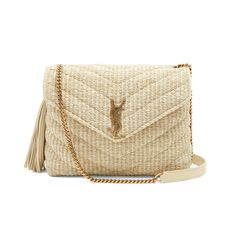 Our Guide to Wearing Spring's Boho Trend for Festival Season: Saint Laurent Small Monogram Quilted-Raffia Cross-Body Bag. | Coveteur.com