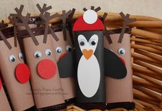 Hersey Bar Mini Reindeer & Penguin Craft (These would be cute as a children's craft made with toilet paper rolls!)