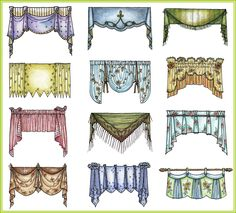 A quick preview of a few of the hundreds of valances I drew for my book, The Design Directory of Window Treatments.  I will show off a small...