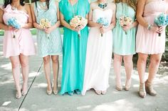 Blush and Teal Bridesmaids dresses. I'm a huge fan of the mix and match dress styles   - The Inspired Bride