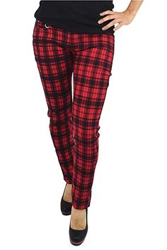 ed890be2e5 Lost Queen Plaid Check Skinny Jeans Punk Rock Funky at Amazon Women s Jeans  store