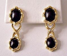 Monet Black Cabochon Bamboo Pierced Earrings Gold Tone Vintage Brushed Crossed Ribs