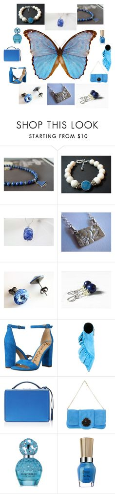 """""""Blue Butterfly"""" by ameliabathandbody ❤ liked on Polyvore featuring Lazuli, Sam Edelman, J.W. Anderson, Mark Cross, Almala, Marc Jacobs, jewelry, accessories, gifts and women"""