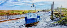 Thornham Creek Harbour At Low Tide: Oil painting of fishing boats on the mud at low tide at Thornham Creek Harbour in North Norfolk by Artist Roger Turner Fishing Boats, Norfolk, Art For Sale, Artist, Artwork, Painting, Oil, Work Of Art, Auguste Rodin Artwork