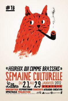 """¤ Grégoire Dacquin. Affiche pour la semaine culturelle """"Heureux qui comme Brassens"""""""