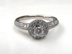 Engagement ring Vintage diamond engagement by ThereOnceWasAGirl