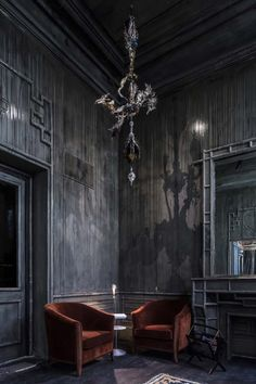 In May 2015, designer Tristan Auer spearheaded the renovation of the infamous Paris nightclub Les Bains. His inky, charcoal-hued spaces hint at Les Bains' decades-long history of debauchery.
