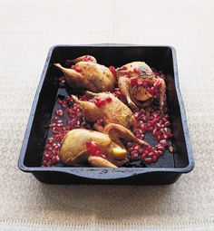 Try this quick and easy Middle Eastern recipe that mixes quails with pomegranate to make an impressive dinner party dish.