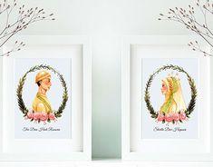 beautiful illustration for javanese - moslem bride