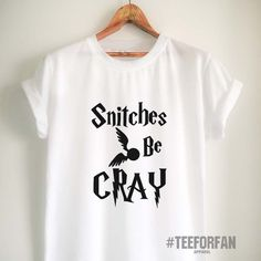 Harry Potter Shirts Harry Potter Merchandise Snitches be Cray Quote Quidditch T Shirts Clothes Apparel Top Tee for Women Girls Men - business ideas for women diy Harry Potter Merchandise, Harry Potter Shirts, Harry Potter Outfits, Harry Potter World, Harry Potter Baby Clothes, Harry Potter Accesorios, Mode Geek, Snitch, Shirt Outfit
