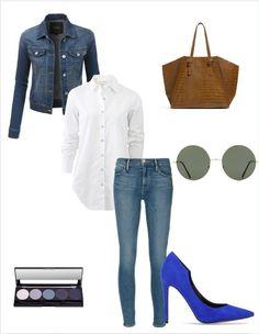 Otra propuesta para nuestro look del día. En esta ocasión un estilismo sencillo, con matices fabulosos. Combinar el #denim con unos stilettos azul Klein es una idea genial. #elrincondemoda Blue Heels Outfit, Heels Outfits, Jean Outfits, Casual Outfits, Cute Outfits, Royal Blue Shoes, Petite Outfits, Casual Chic, Clothes For Women