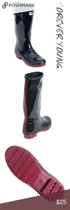 """Women Tall Rainboots, #1535, Black Wine Gorgeous woman tall rainboots by Forever Young. Bkack with two wine colored lines down the back, cotton lining, removable sole. Posh buckle on the calf side. Approx 14"""" tall & approx 15"""" in circumference. 100% rubber rain boot!!! Taller than galoshes, they protect your feet better while you garden or walk in the fall or winter rain. Not made for wide calves. Run half a size larger than regular shoes. A true statement in ladies fashion! Forever Young…"""