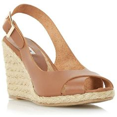 Dune London Kia Leather Espadrille Wedge Sandals ($99) ❤ liked on Polyvore featuring shoes, sandals, tan, peep toe sandals, high heel shoes, leather espadrilles, summer wedge sandals and wedge espadrilles