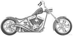 custom motorcycle drawing   Harley-Davidson Crusader Custom Chopper
