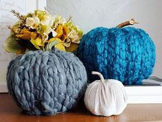 Add warmth to fall decor with these pretty yarn wrapped pumpkins from our @nikkala.stephens. We love that chunky yarn. Link in profile. #craftingchicks #pumpkin #diypumpkin #falldecor #pumpkindecor