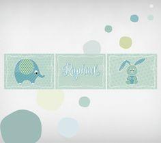 Wandgestaltung   Kinderbilder Set Mit Name, TIERE Beige/rosa/grau   Ein  Designerstück Von NgmSTYLE Bei DaWanda | Geschenke | Pinterest | Diy Design  And ...