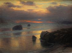 Nautical Twilight by Joseph McGurl Sky Painting, Seascape Paintings, Painting & Drawing, Landscape Art, Landscape Paintings, Landscapes, Cali, Ocean At Night, Beach Night