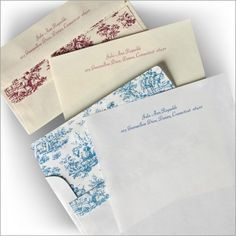 Toile Envelopes and Sheets
