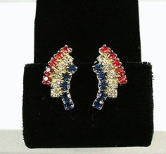 EISENBERG ICE Red White and Blue Earrings Vintage by KatsCache, $44.95