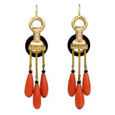 A Pair of Antique Gold, Coral and Onyx Earrings