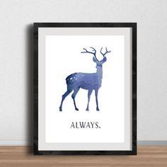"Harry Potter Always Poster - Digital Art, 8x10"" Printable- Stag Patronus, Severus Snape and Lily Potter, Harry Potter Fan Artwork"