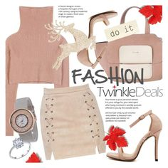 """""""TWINKLEDEALS: Nude lace-up skirt!"""" by vn1ta ❤ liked on Polyvore featuring Valentino and modern"""