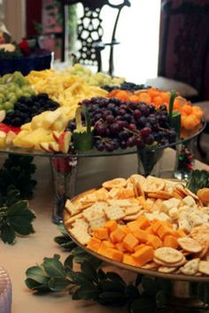 fruit, crackers and cheese - pretty arrangement