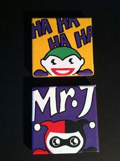 Joker and Harley Quinn paintings on etsy. Maybe DIY similar on coasters? Hurley Quinn, Halloween Wishes, Comic Book Girl, Robin, Joker And Harley Quinn, Catwoman, Diy Painting, Game Art, Comic Art