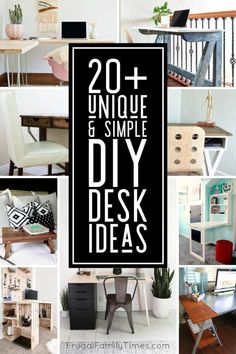 There are so many unique home office desk ideas to make yourself! We're planning three desks in our Home Office and Music Room and I've collected so many great DIY desk ideas to inspire. Included are foldaway desks, IKEA desk hacks, upcycled desks from doors and tables, wall-mounted desks, desks from crates and pipes and more! Easy Sewing Projects, Diy Projects, Project Ideas, Fold Away Desk, Modern Wood Desk, Diy Standing Desk, Crate Desk, Handmade Desks, Frugal Family