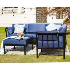 Patio Festival 6-Piece Metal Outdoor Sectional Set with Blue Cushions-PF19005-005-006-B - The Home Depot Corner Sofa And Chair, Sofa Chair, Indoor Outdoor Furniture, Outdoor Decor, Blue Cushions, Cushion Filling, Modular Design, Outdoor Sectional, Ottomans