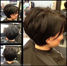 Get this cut for thick hair, long wedge through the crown, short at the nape, tucked behind the ears!