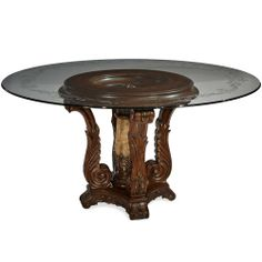 AICO Victoria Palace 60-inch Round Decorative Glass Top Dining Table by Michael Amini AI-61001-101-29 $1828.00